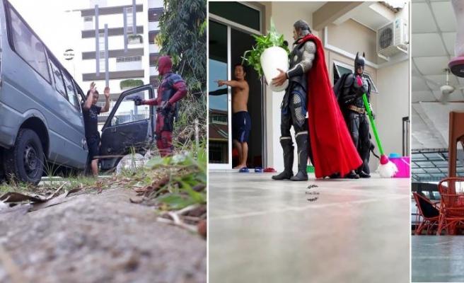 Malezyalı Sanatçı 'Wire Hon' Süper Kahramanlar ile Yarattığı Komik Fotoğraflarla Beğeni Topluyor
