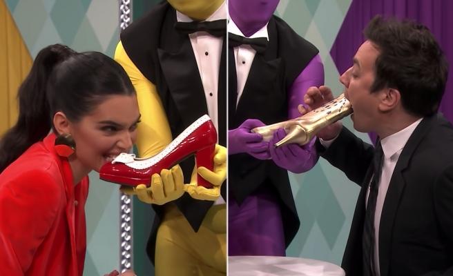 'Yiyecek mi, Değil mi?' Oyununda Kendall Jenner'a Ayakkabı Yediren Jimmy Fallon