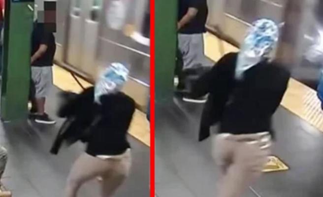 3 saniye sonrası korkunç! ABD'de durakta bekleyen kadını hızla gelen metronun önüne böyle attı