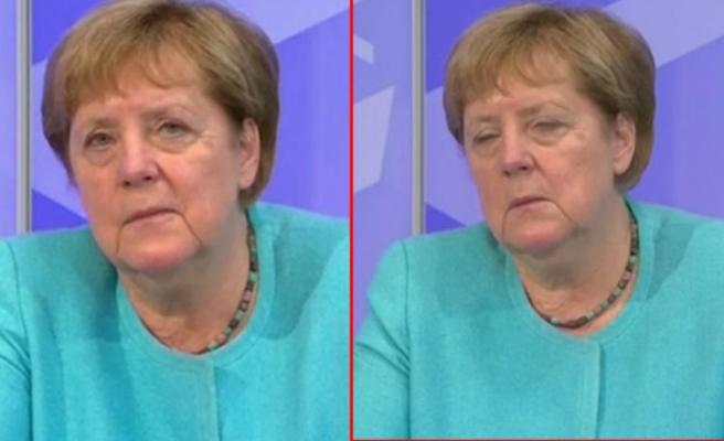 Almanya Başbakanı Merkel'in zor anları! Canlı yayında uyumamak için devamlı gözlerini ovuşturdu