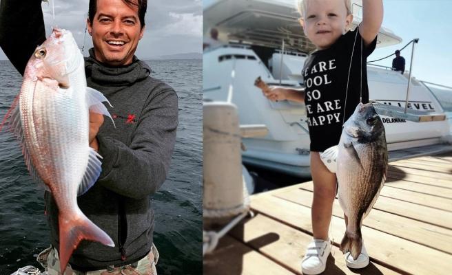 Alp Kırşan'ın minik oğlu da balıkçılığa merak sardı