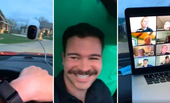 Arabada Arkasına Yerleştirdiği Yeşil Perde ile Kendisini Evde Gibi Gösteren 1000 IQ Adamın Zoom Toplantısı