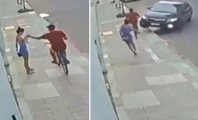 Bir Kadının Elinden Telefonu Alıp Bisikletle Kaçmak İsteyen Hırsıza Araba ile Çarparak Durdurmaya Çalıştı