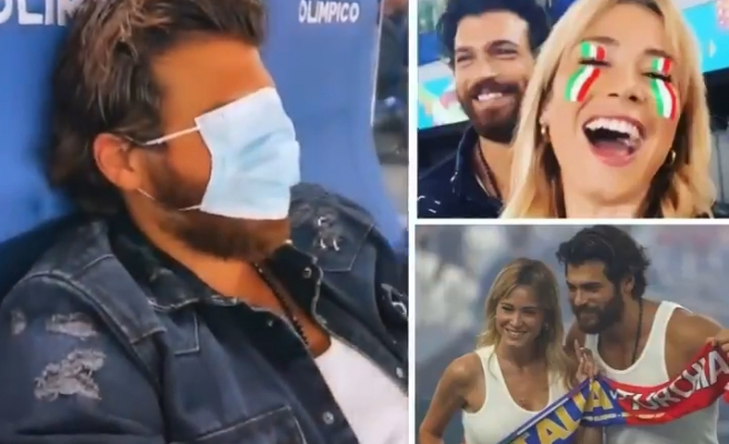 Can Yaman ile Sevgilisi Diletta Leotta, Türkiye-İtalya Maçını Birlikte İzledi, Yaman Yüzünü Maskeyle Kapattı