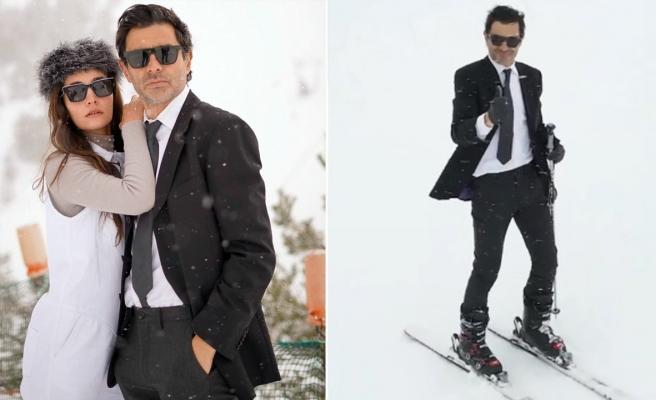 Cansel Elçin takım elbiseyle kayak yaptı