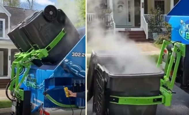 Çöp Konteynerlerini Boşalttıktan Sonradan Kısa Süre İçinde Dezenfekte Eden Çöp Aracı