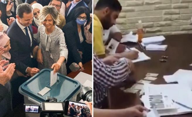 Devlet başkanlığı seçimlerinin yapıldığı Suriye'de, memurlar seçmen adına oy kullanıyor
