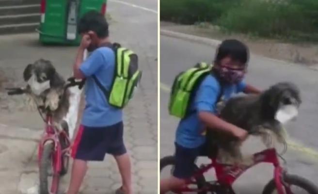 Dünyayı Çocuklar Yönetsin: Bisiklet Turu Öncesi Köpek Dostuna da Maske Takan Çocuğun Muhteşem Görüntüleri