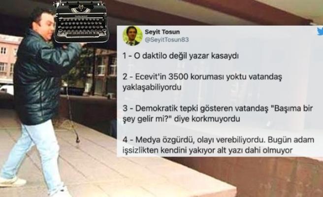 Erdoğan'ın 'Ecevit'e O Daktilolar Neden Atıldı?' Sözleri Sosyal Medyanın Gündeminde...