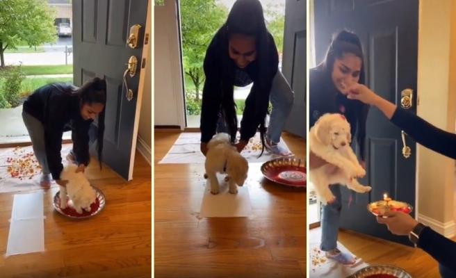 Eve Yeni Gelen Yavru Köpeği Geleneksel Yöntemlerle Karşılayan Hint Aile