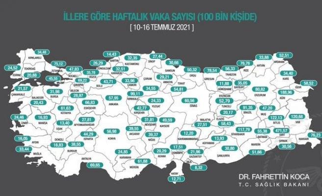 Haftalık Vaka Haritası Açıklandı: İşte İl İl Vaka Sayıları