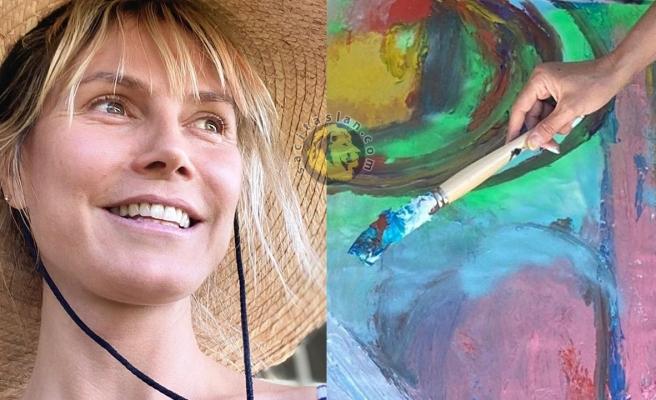 Heidi Klum boyalarıyla çok mutlu