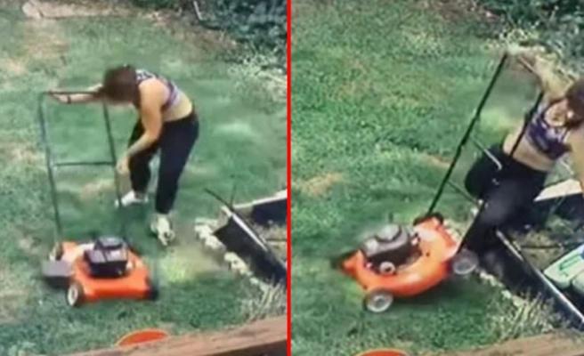 Her şey bir anda oldu bitti! Ayağını çim biçme makinesine kaptıran kadının parmağı koptu