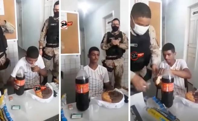 Hırsızlık Şüphesi ile Gözaltına Alınan Gencin Doğum Gününü Kutlayan Polisler
