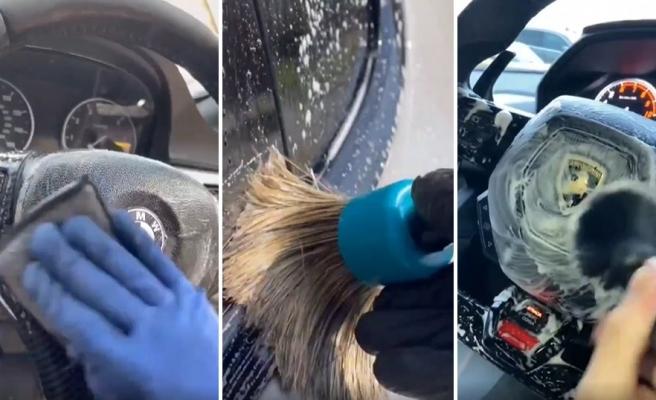 İç Dış Araba Temizleyen Adamın İzlerken Hipnotize Olacağınız Videosu
