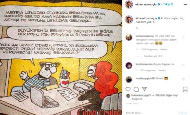 İmamoğlu'ndan Karikatürlü Paylaşım:'Kurban Oliyim, Hiç Haberim Yok'
