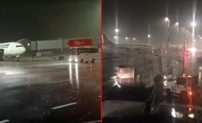 İstanbul Havalimanı'nda Şiddetli Fırtına Konteyner ve Bagajları Sürükledi