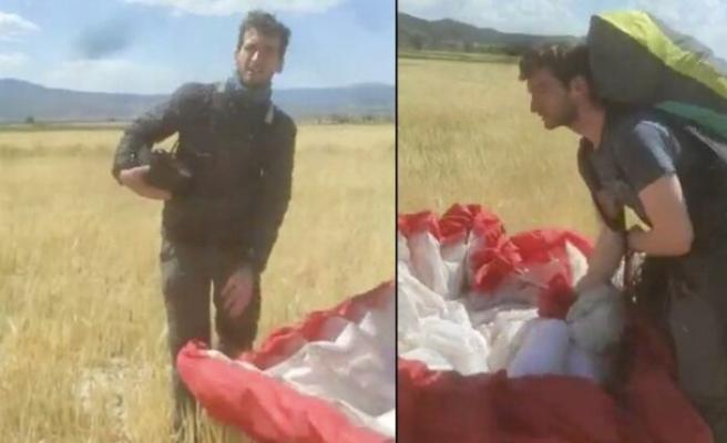 Kanadalı Paraşütçü Burdur'da Ekili Tarlaya İnerse... 'Sorry Sorry Diyorsun da Niye İniyorsun'