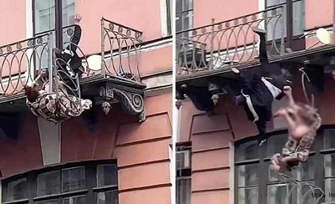 Kavga Eden Çift, Metrelerce Yükseklikteki Balkondan Aşağıya Düştü