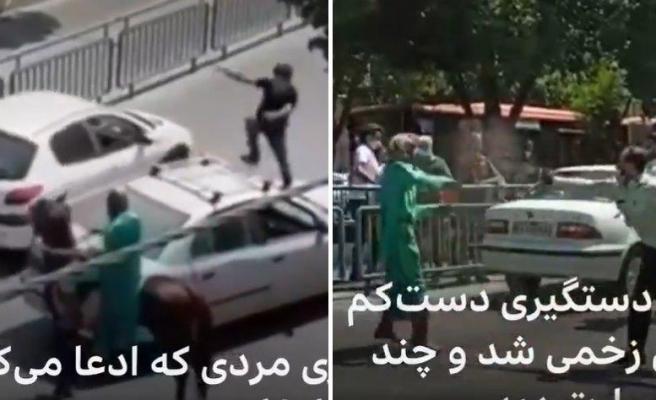 Mehdi Olduğunu İddia Edip At Üstünde Kılıç Kuşanan Kişi 'Hameney'e Ölüm' Sloganı Attı