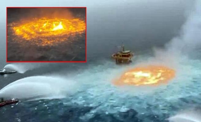 Meksika Körfezi'nde korku filmlerini aratmayan görüntü! Alevler okyanusu sardı, ''Cehennemin gözü'' viral oldu