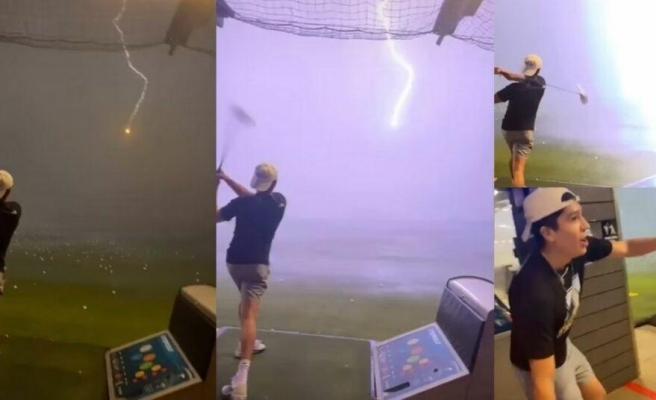 Milyonda Bir İhtimal Gerçek Oldu: Havadaki Golf Topuna Yıldırım Çarptı