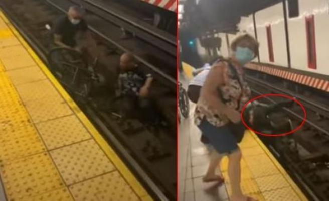 New York'ta Metro İstasyonunun Raylarına Düşen Tekerlekli Sandalyedeki Adamı Son Anda Kurtardılar