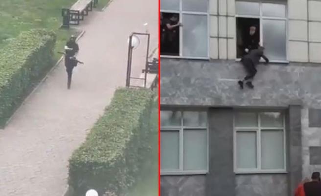 Rusya'daki Perm Üniversitesi'nde 8 kişinin öldüğü silahlı saldırı anları kamerada