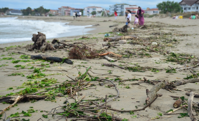 Sağanak yağış ve şiddetli rüzgar Karasu sahilini de vurdu