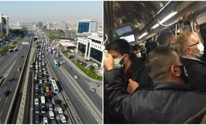 'Tam' Olmamış Sanki! Yasakların İlk Gününde İstanbul'da Trafikte ve Toplu Taşımada Yoğunluk Dikkat Çekti