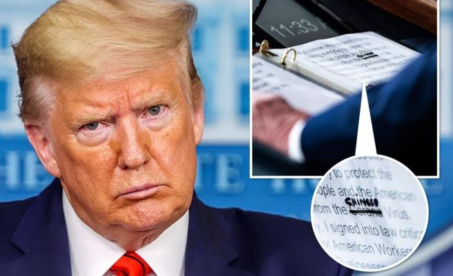 Trump'ın Virüs Notları: 'Korona'nın Üzerini Çizip 'Çinli' Yazdı