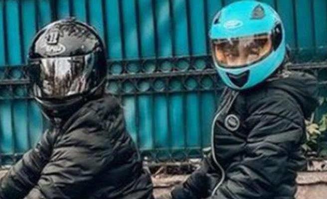 Yağmur Sarıoğlu, oğlunu motosikletle gezdirdi