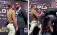 Horozlar gibi kızıştılar ABD'li ve Meksikalı boksörler, basın toplantısını ringe çevirdi