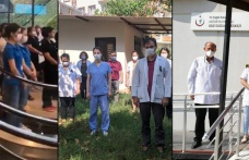 Sağlık çalışanları saygı duruşunda