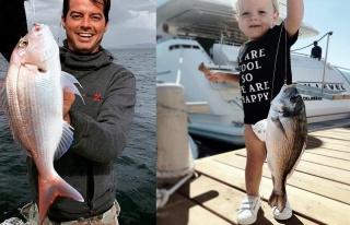 Alp Kırşan'ın minik oğlu da balıkçılığa merak...