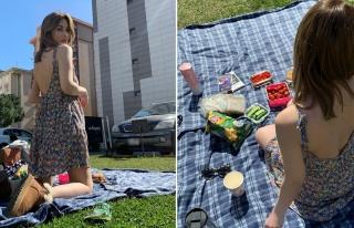 Aynur Aydın site bahçesinde piknik yaptı