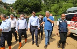 Bakan Kurum: 'Rize'deki selde zarar gören 24 tane...