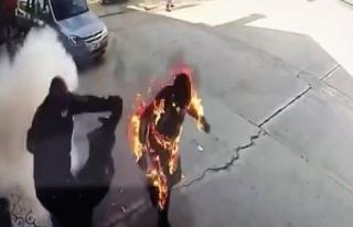 Benzin İstasyonunda Çıkan Yangın Sonrası Alevler...