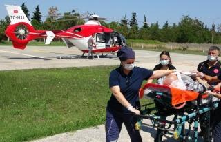 Beyin kanaması geçiren yaşlı adam ambulans helikopterle...