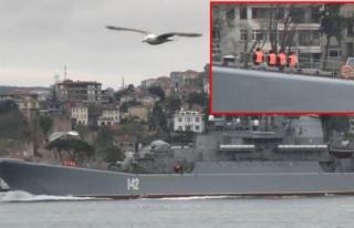 Boğaz'da dikkat çeken görüntü! Rus savaş gemisinin...