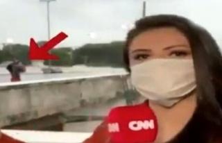 CNN'in Brezilya'da görev yapan muhabiri canlı yayında...