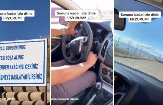 Erzurum'da Bulunan 'Gizemli Yol': Arabalar Kontak...