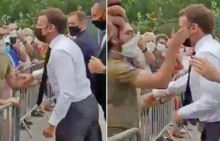 Fransa Cumhurbaşkanı Macron'a tokat atan kişi dövüş...