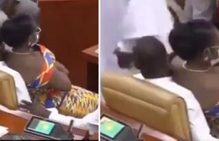 Gana Parlamentosu'nda Erkek Vekilin Kucağına Oturan...