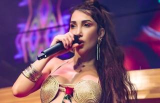 Hande Yener, sütyenle sahneye çıktı
