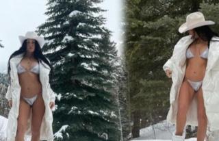 Kourtney Kardashian'dan karlar üzerinde bikinili...