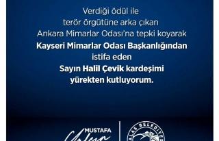Mimarlar Odası Kayseri Şube Başkanı Çevik istifa...