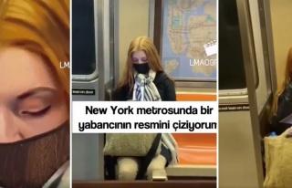 New York Metrosunda Rastgele Birinin Resmini Yapan...