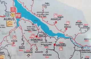 Tokat'ta Alevi Köylerinin İşaretlendiği Harita:...