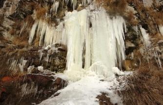 Ardahan'da donan şelalede buz sarkıtları oluştu